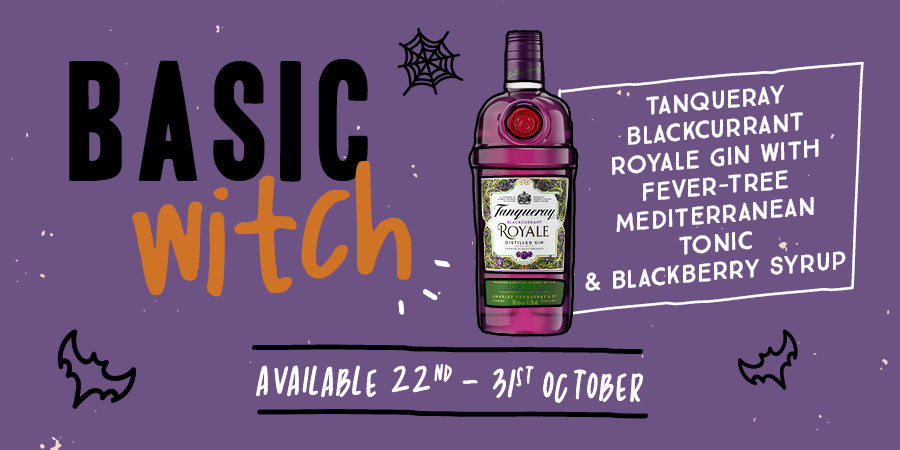 Trio of witches Tanqueray Blackcurrant Royale