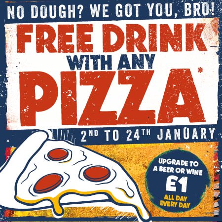 January Sale free drink with pizza