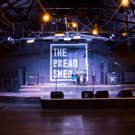 Bread Shed drum set on stage