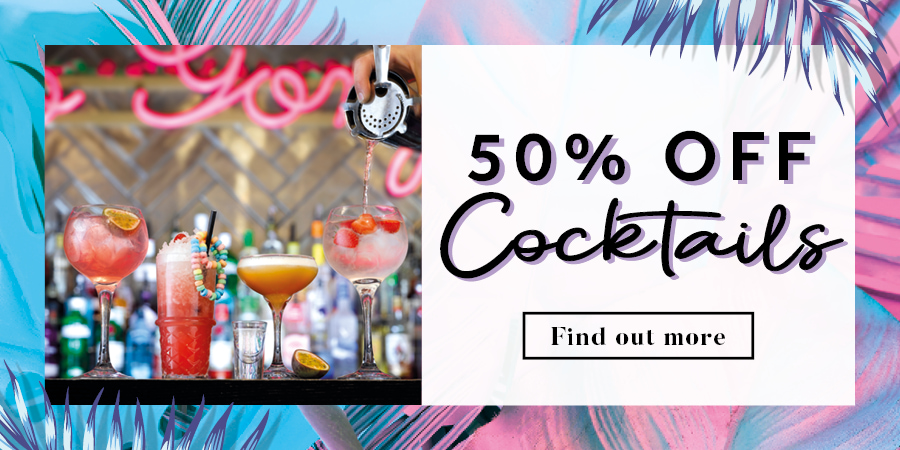 50% off cocktails at [#SiteName#]