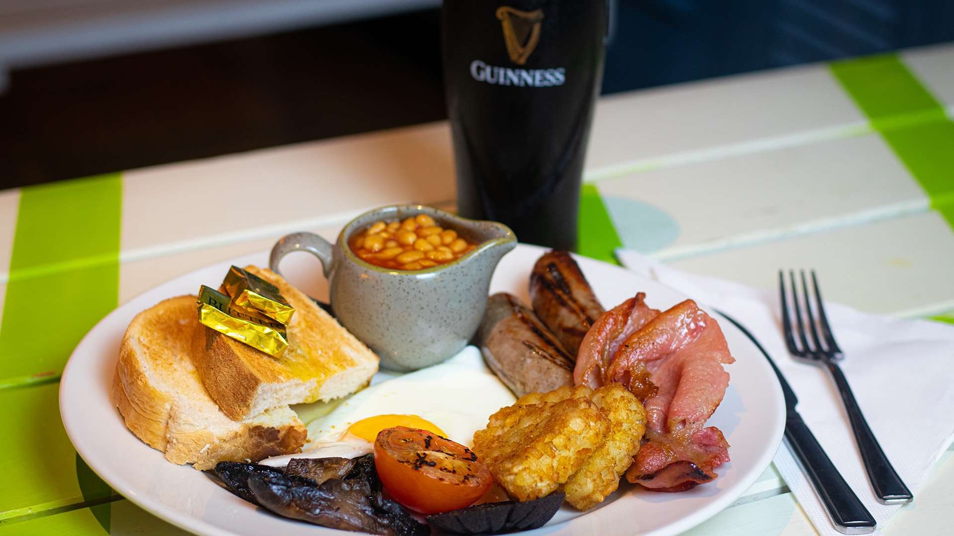 Full English Breakfast with a Pint of Guinness