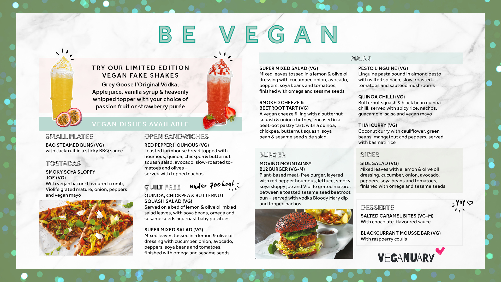 Slug & Lettuce Vegan Menu